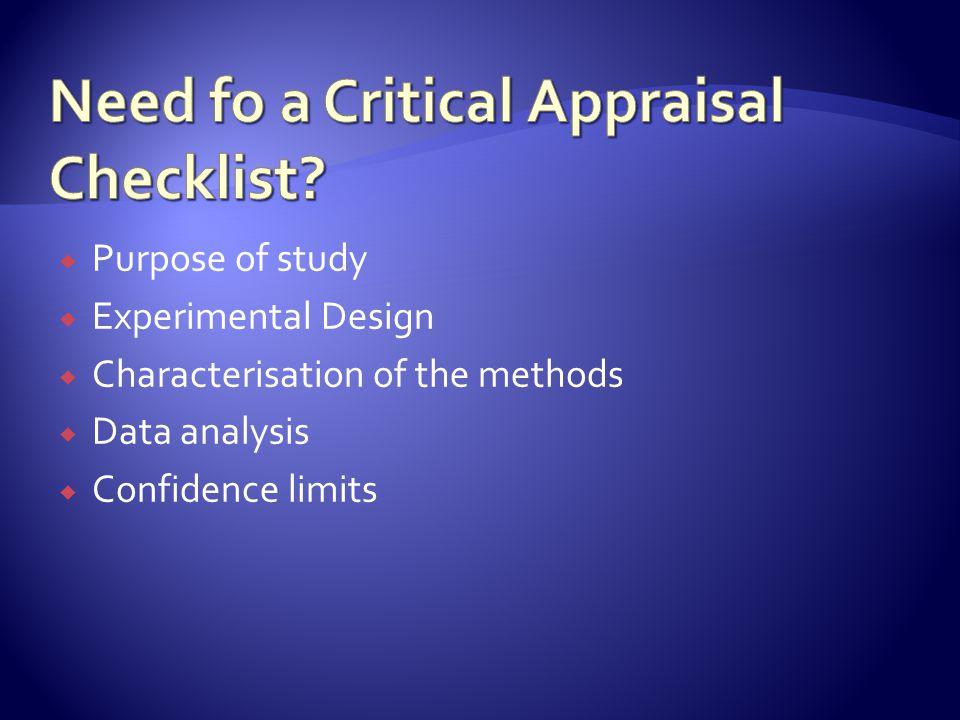 Need fo a Critical Appraisal Checklist