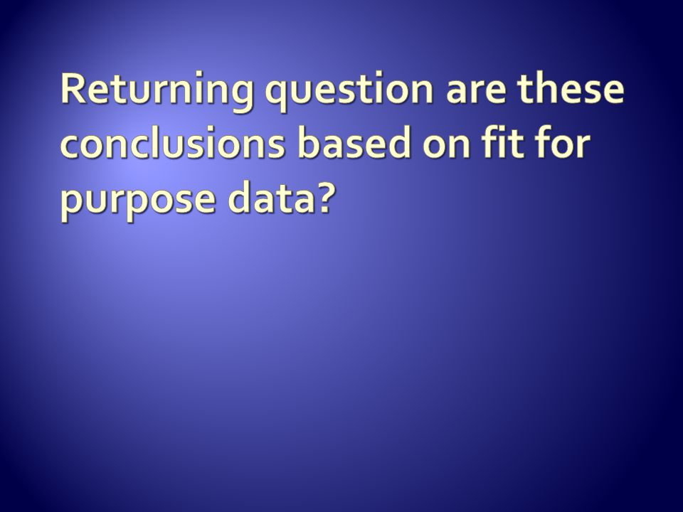 Returning question are these conclusions based on fit for purpose data