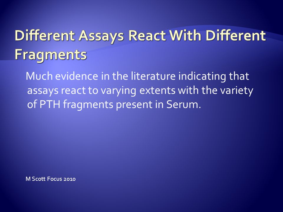 Different Assays React With Different Fragments