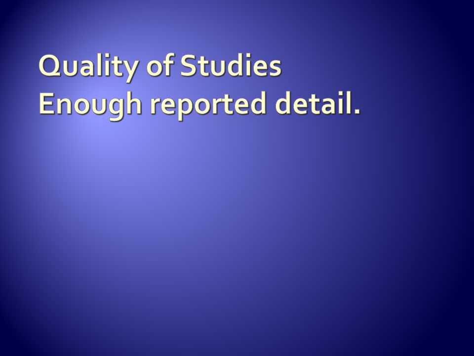 Quality of Studies Enough reported detail.