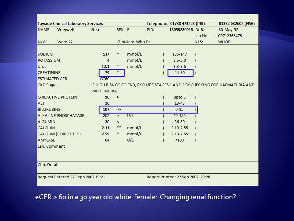 eGFR > 60 in a 30 year old white female: Changing renal function