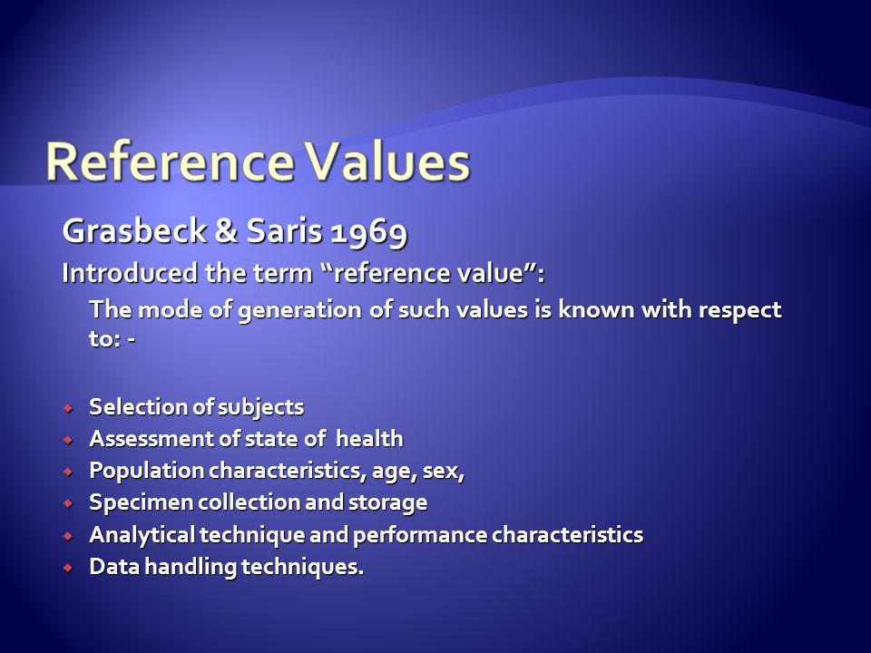 Reference Values Grasbeck & Saris 1969