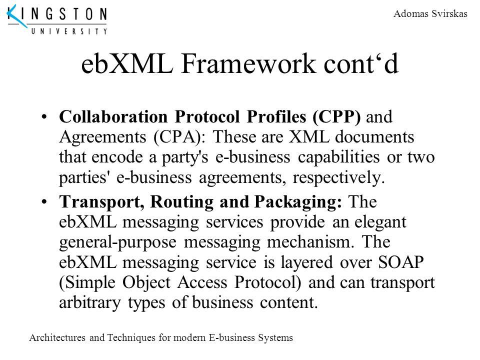 ebXML Framework cont'd