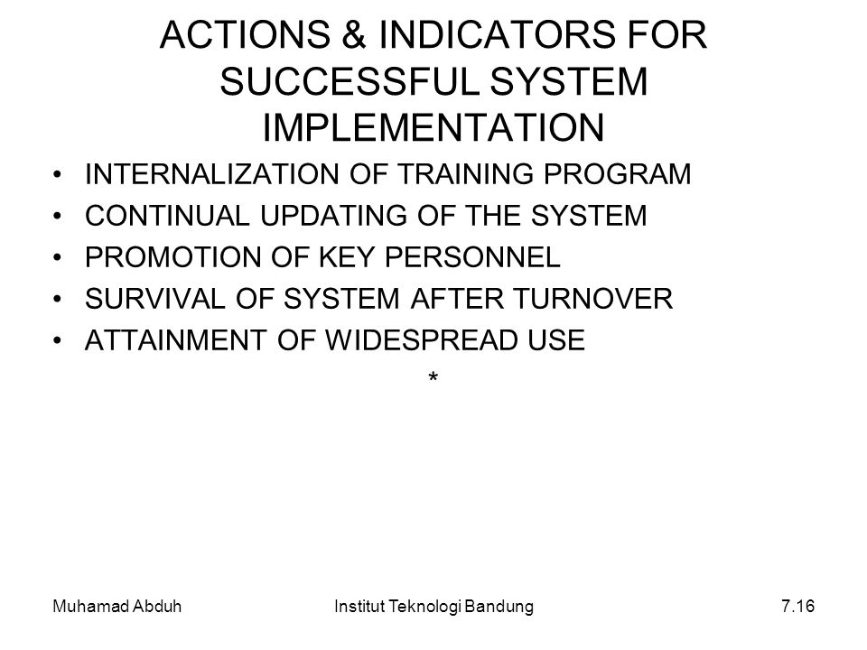 ACTIONS & INDICATORS FOR SUCCESSFUL SYSTEM IMPLEMENTATION