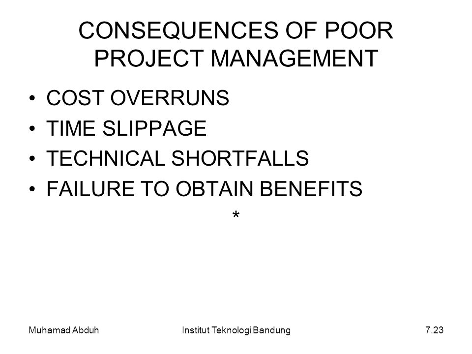 CONSEQUENCES OF POOR PROJECT MANAGEMENT