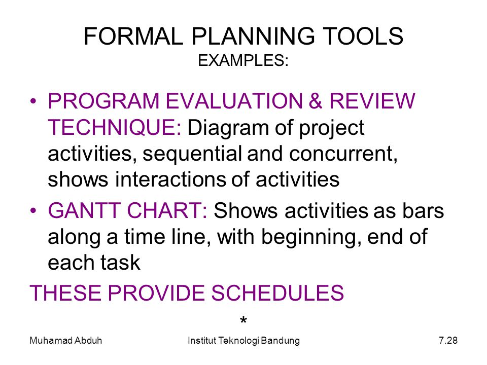 FORMAL PLANNING TOOLS EXAMPLES: