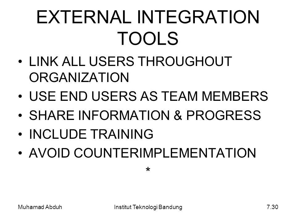 EXTERNAL INTEGRATION TOOLS
