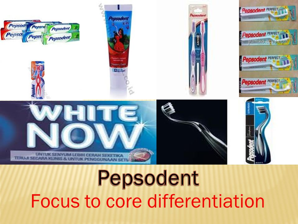 Pepsodent Focus to core differentiation