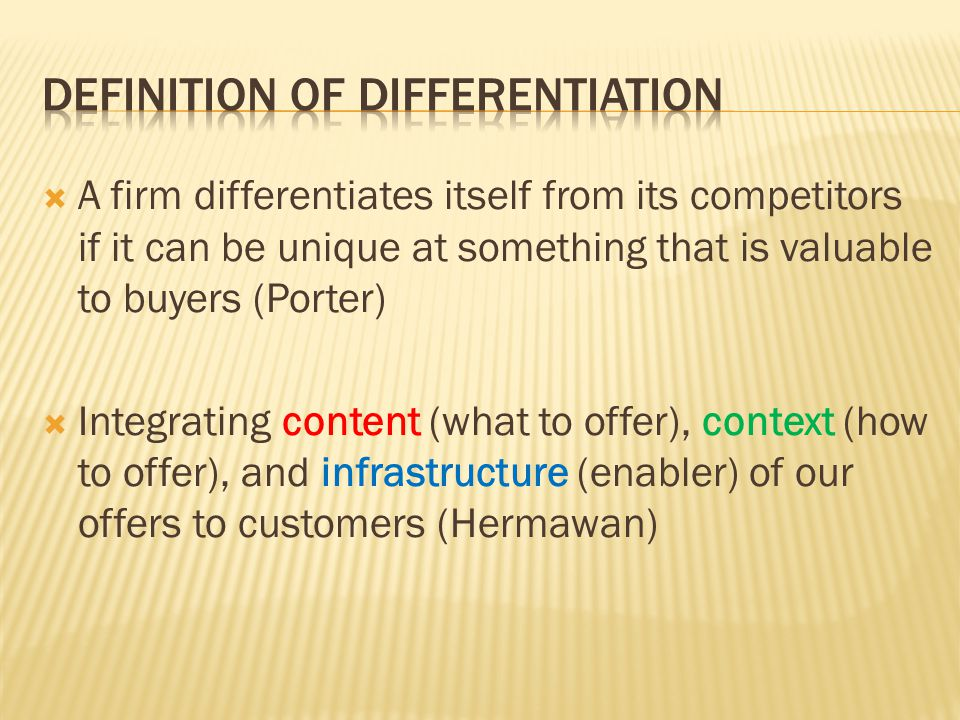 Definition of differentiation