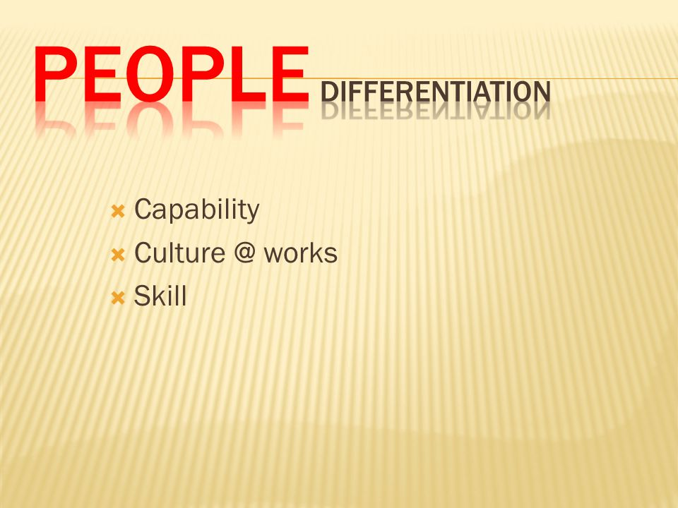 People DIFFERENTIATION