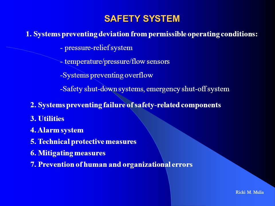 SAFETY SYSTEM 1. Systems preventing deviation from permissible operating conditions: pressure-relief system.