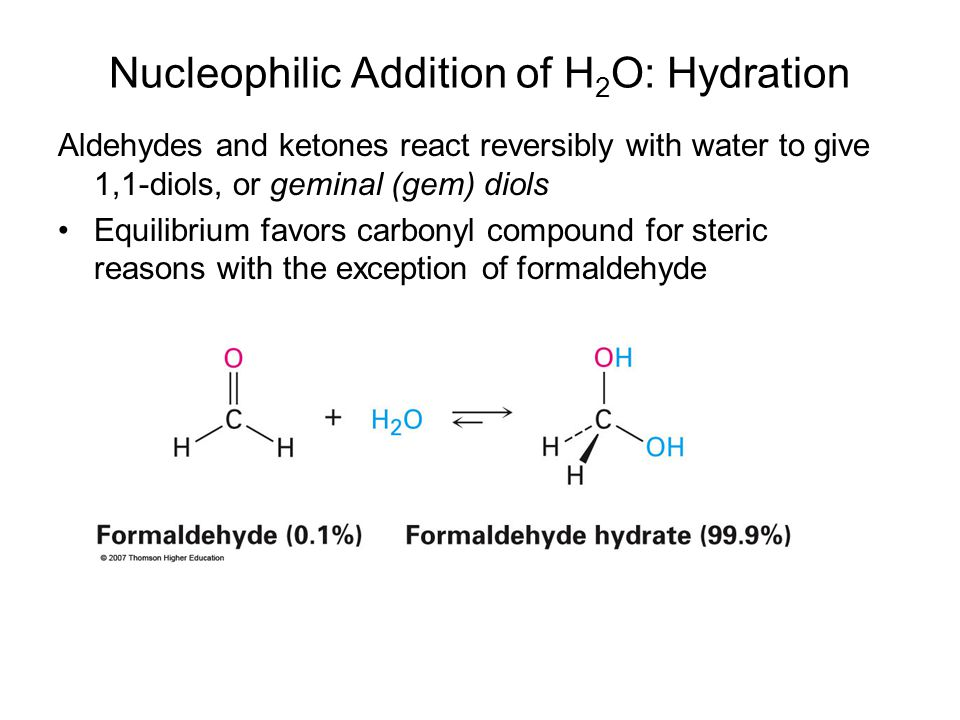 Nucleophilic Addition of H2O: Hydration