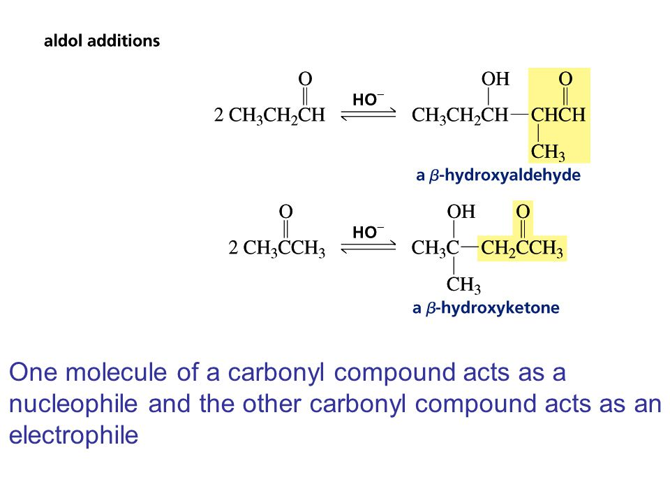 One molecule of a carbonyl compound acts as a