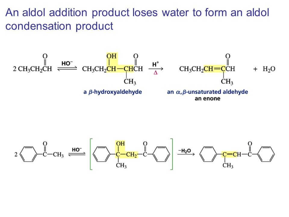 An aldol addition product loses water to form an aldol