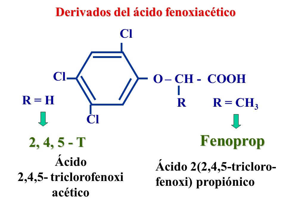 Fenoprop 2, 4, 5 - T Derivados del ácido fenoxiacético Cl Cl