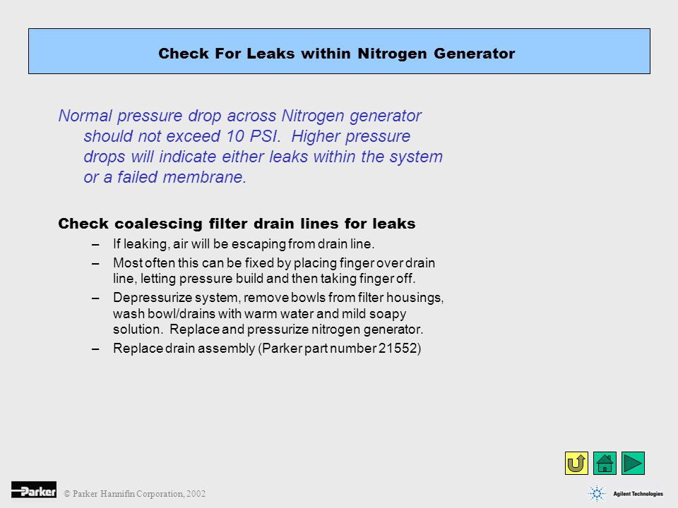 Check For Leaks within Nitrogen Generator