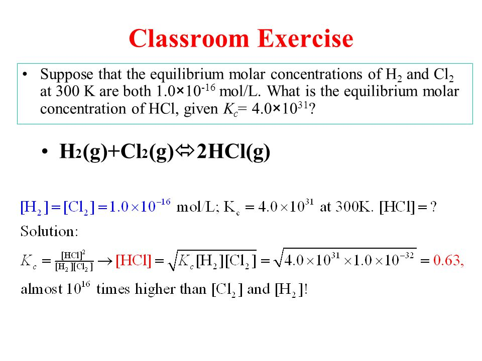 Classroom Exercise H2(g)+Cl2(g)2HCl(g)