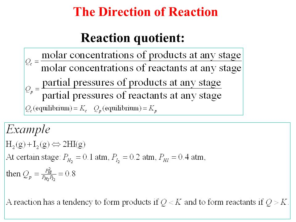 The Direction of Reaction