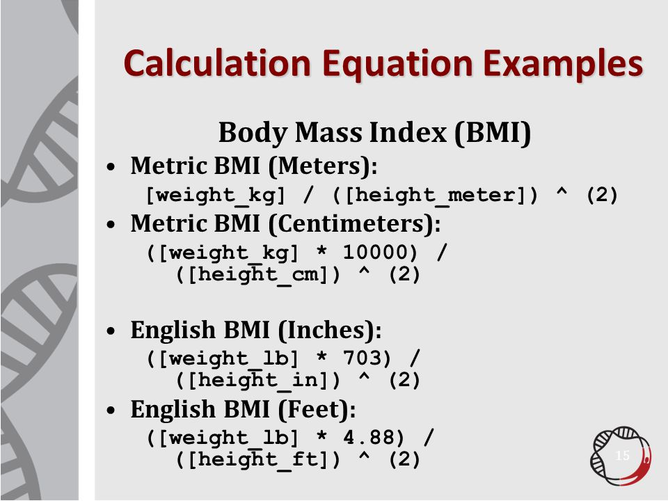 Calculation Equation Examples
