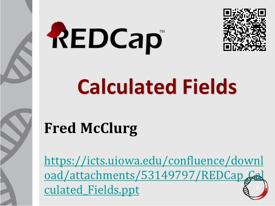 Calculated Fields Fred McClurg