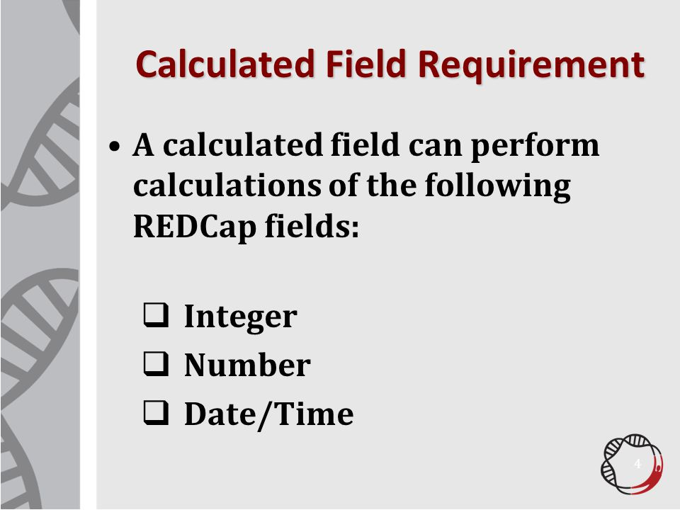 Calculated Field Requirement