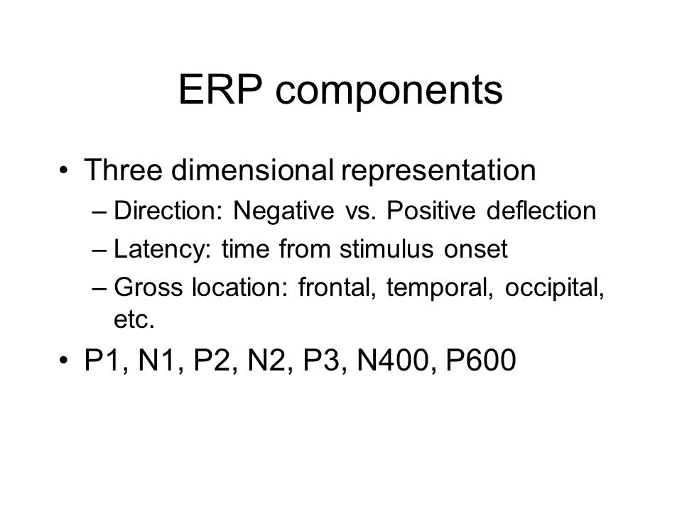 ERP components Three dimensional representation