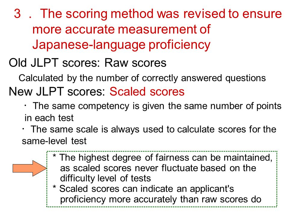 3. The scoring method was revised to ensure more accurate measurement of Japanese-language proficiency