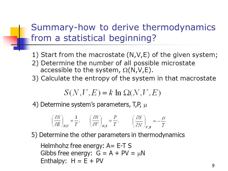 Summary-how to derive thermodynamics from a statistical beginning