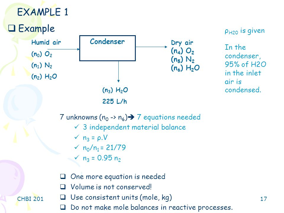 EXAMPLE 1 Example ρH20 is given In the condenser, Condenser (n4) O2
