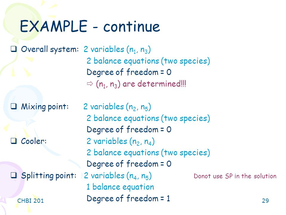 EXAMPLE - continue Overall system: 2 variables (n1, n3)