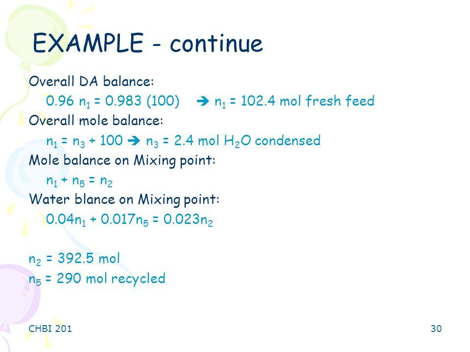 EXAMPLE - continue Overall DA balance: