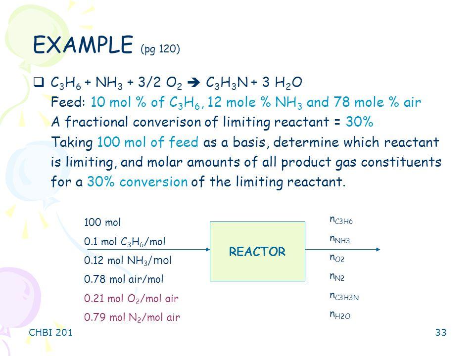 EXAMPLE (pg 120) C3H6 + NH3 + 3/2 O2  C3H3N + 3 H2O
