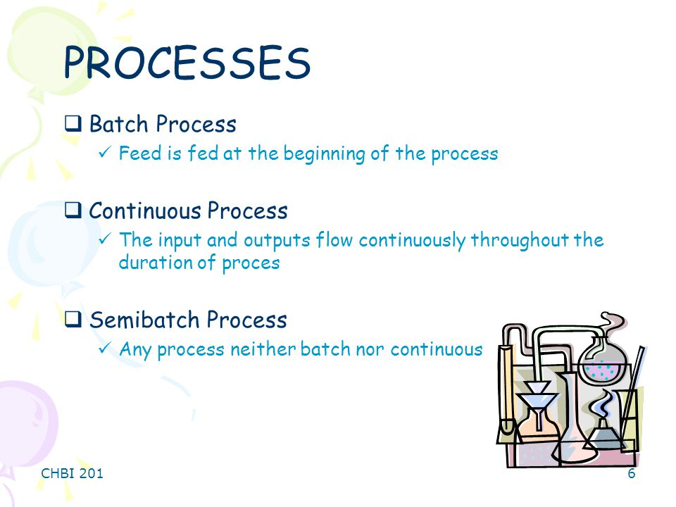 PROCESSES Batch Process Continuous Process Semibatch Process