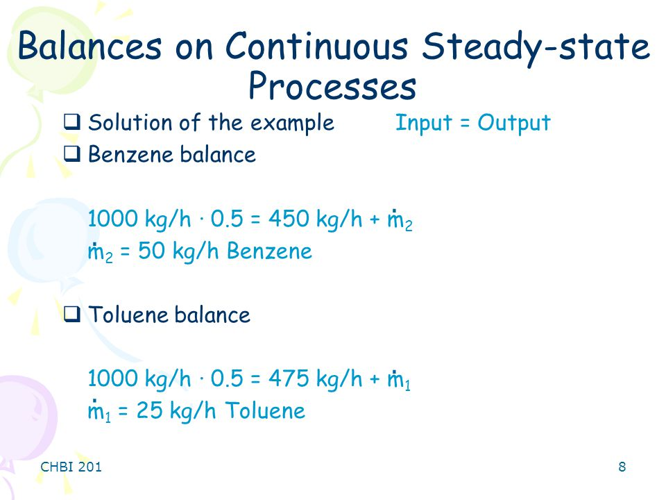 Balances on Continuous Steady-state Processes