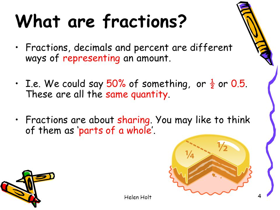 What are fractions Fractions, decimals and percent are different ways of representing an amount.