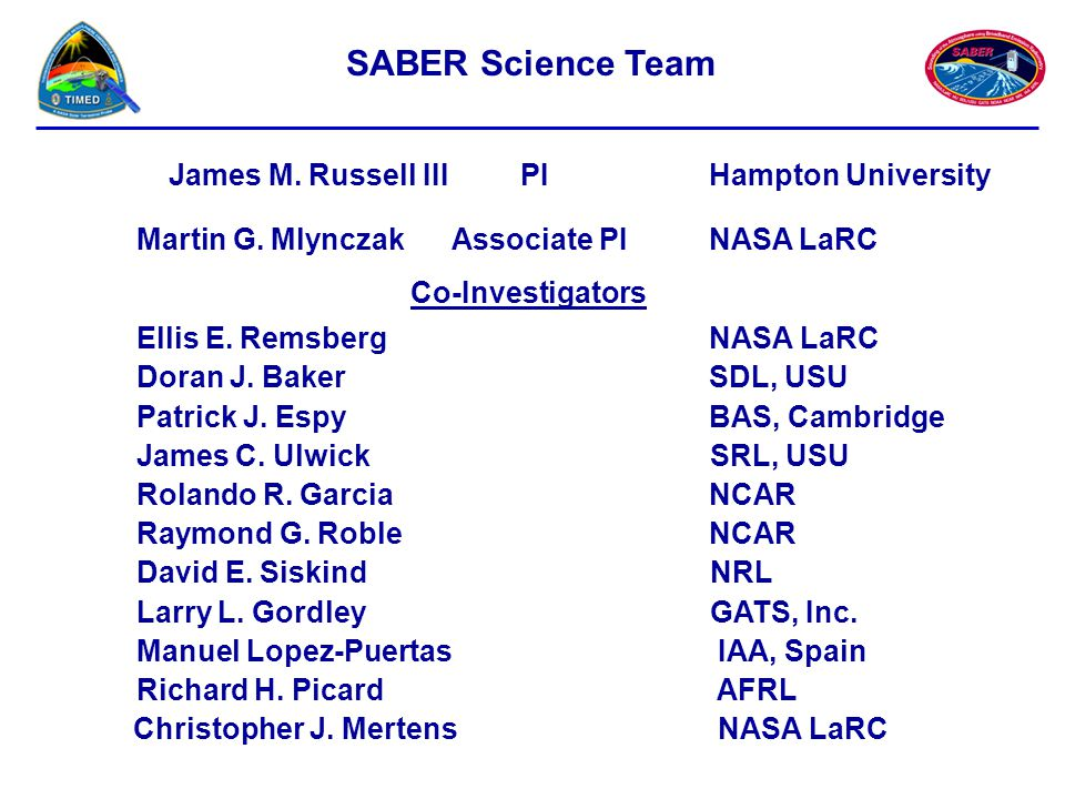 SABER Science Team James M. Russell III PI Hampton University