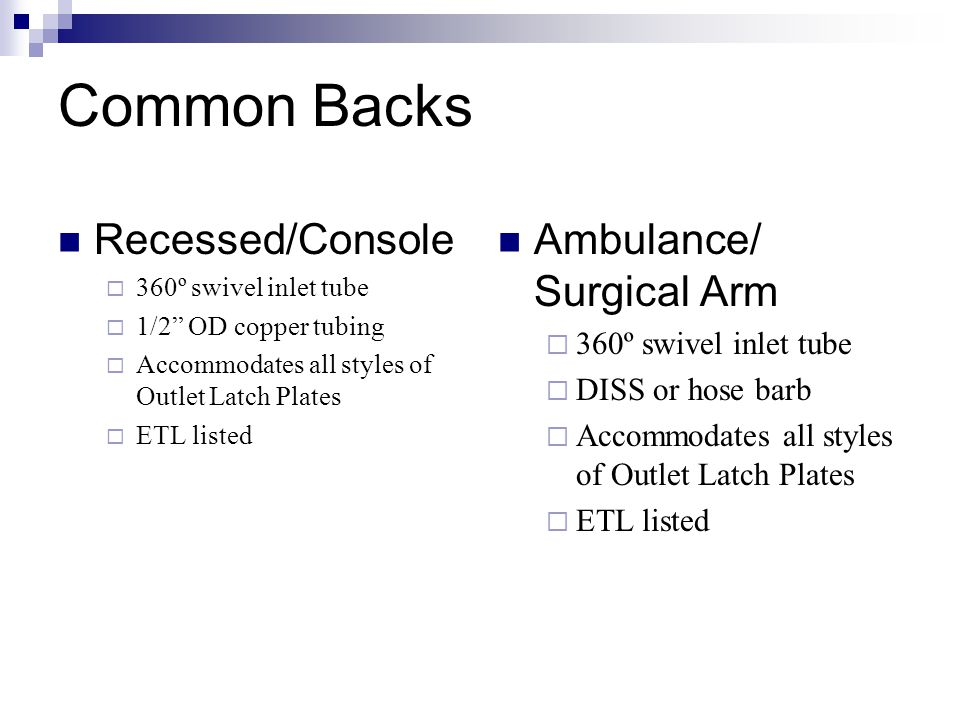 Common Backs Recessed/Console Ambulance/ Surgical Arm