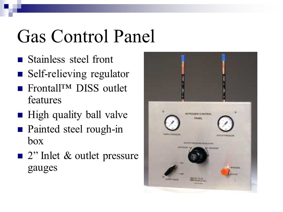 Gas Control Panel Stainless steel front Self-relieving regulator