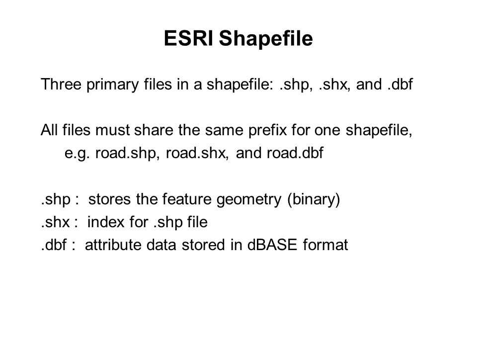 ESRI Shapefile Three primary files in a shapefile: .shp, .shx, and .dbf. All files must share the same prefix for one shapefile,