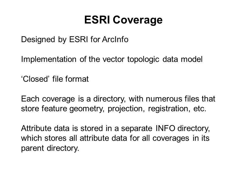 ESRI Coverage Designed by ESRI for ArcInfo