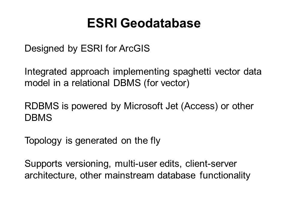 ESRI Geodatabase Designed by ESRI for ArcGIS