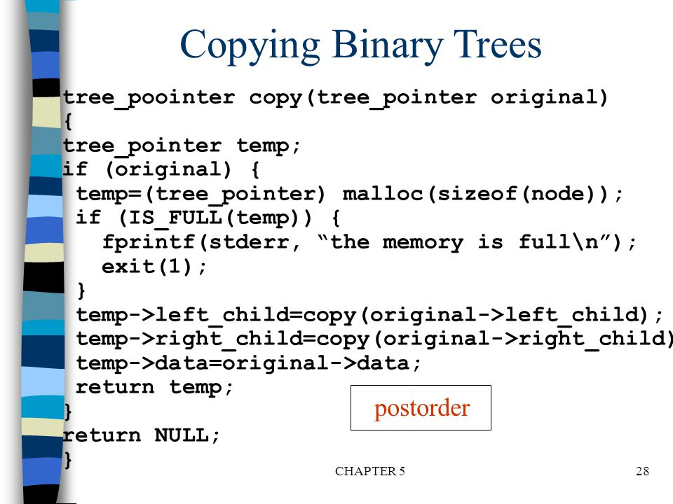 Copying Binary Trees postorder
