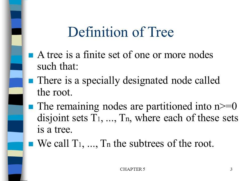 Definition of Tree A tree is a finite set of one or more nodes such that: There is a specially designated node called the root.