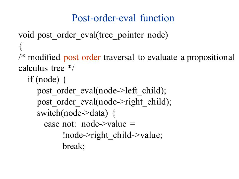Post-order-eval function