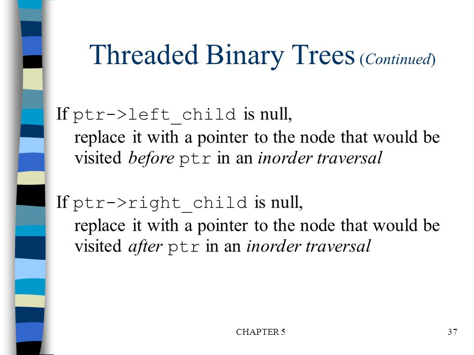 Threaded Binary Trees (Continued)