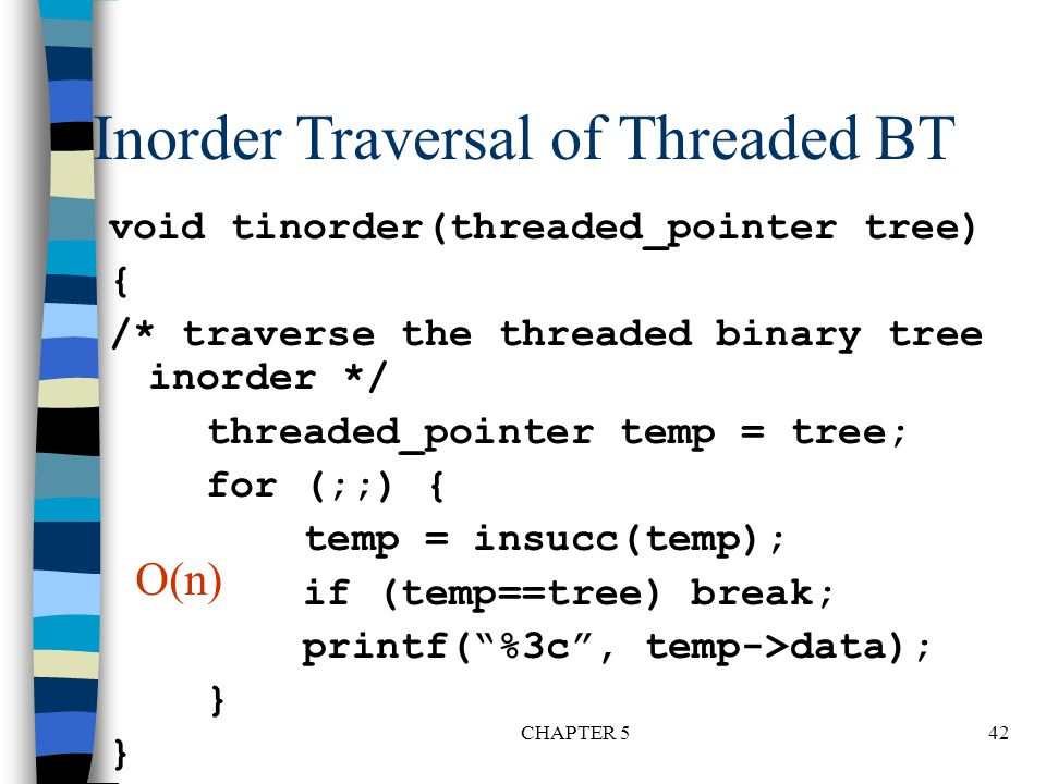 Inorder Traversal of Threaded BT