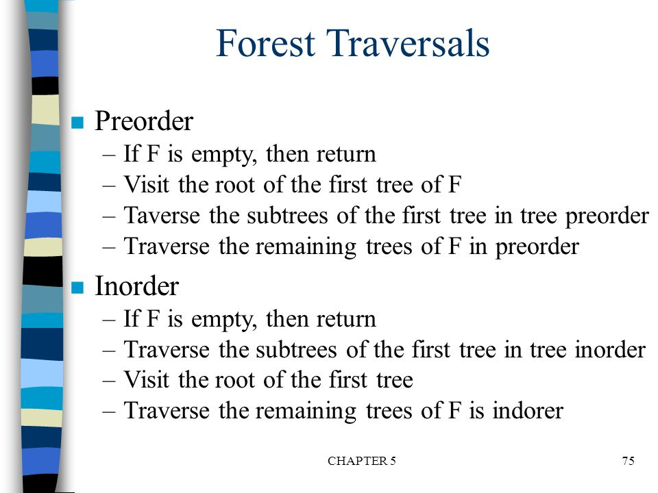 Forest Traversals Preorder Inorder If F is empty, then return