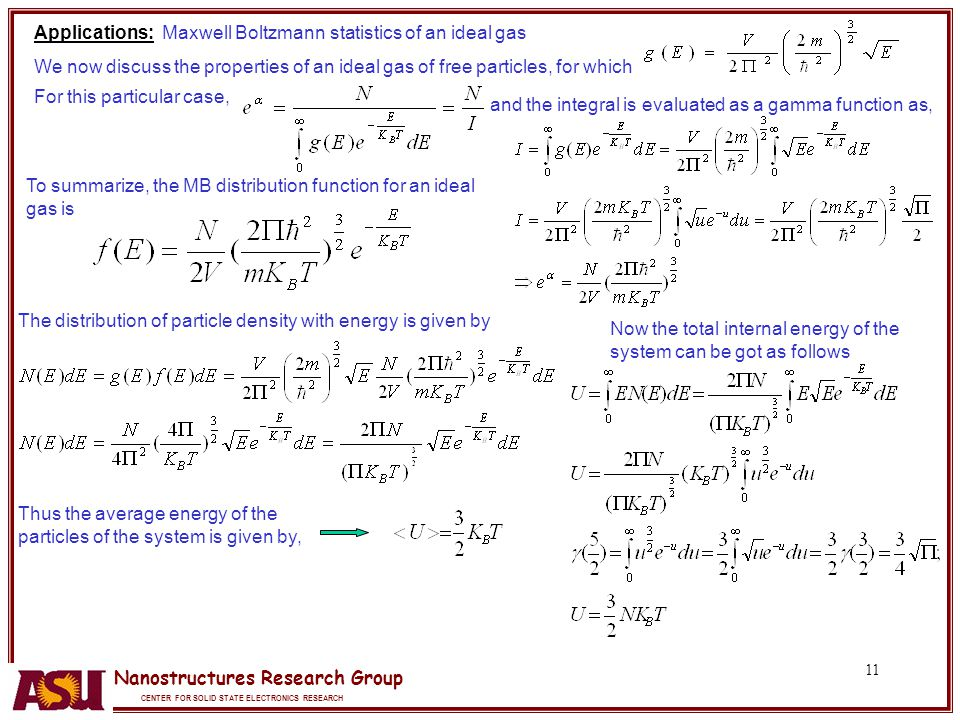 Applications: Maxwell Boltzmann statistics of an ideal gas