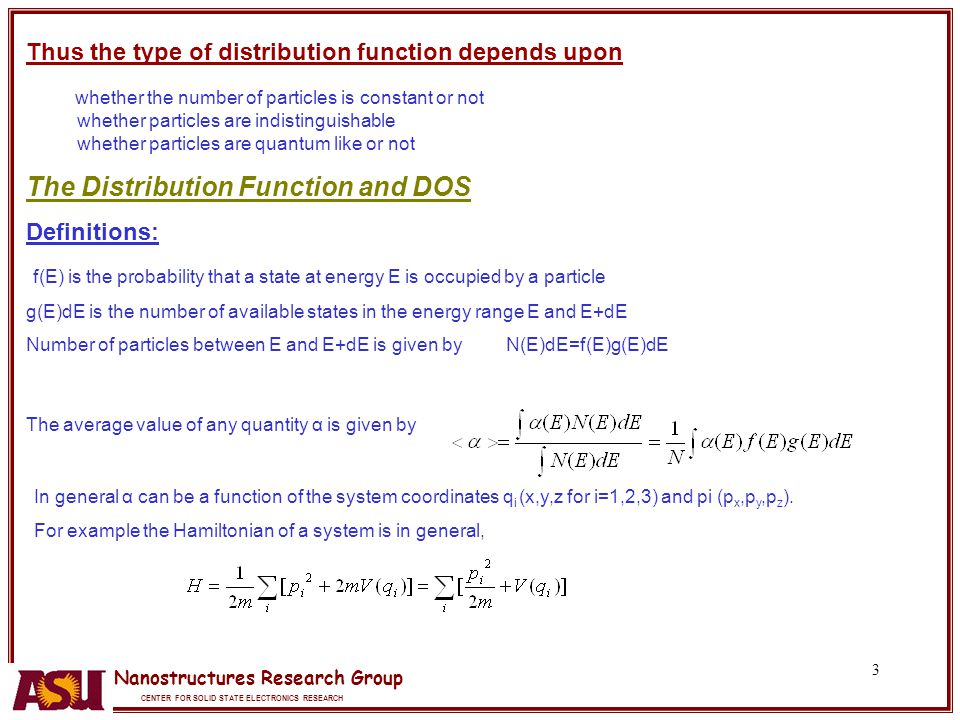 The Distribution Function and DOS