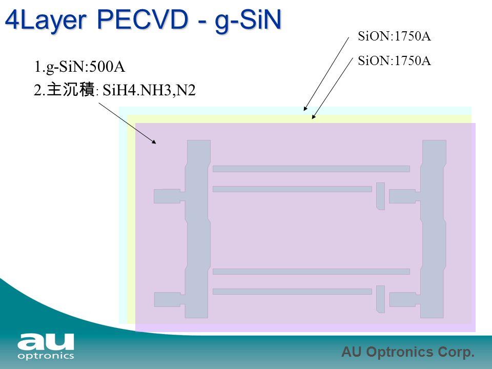 4Layer PECVD - g-SiN 1.g-SiN:500A 2.主沉積: SiH4.NH3,N2 SiON:1750A